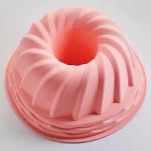 """Форма O21х9,5см для выпечки кекса силиконовая АК-6147S """"Классический-21"""" розовая"""