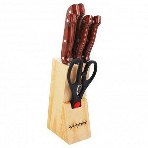 Набор ножей на деревянной подставке 7 предметов ВЕ-2238 коричневая ручка