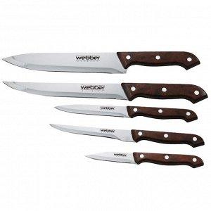 Набор ножей 5 предметов в блистере ВЕ-2235 коричневая ручка