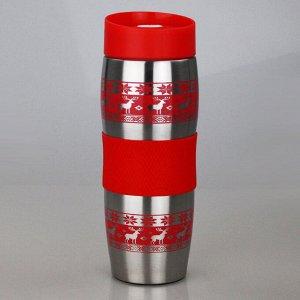 """Термокружка вакуумная 400мл Alpenkok AK-04022A """"Олени красные"""""""