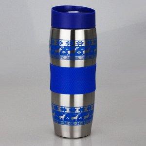 Термокружка вакуумная Alpenkok АК-04023А ОЛЕНИ синие 400мл