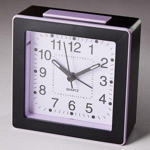 Будильник 11x5х11см с подсветкой DT8-0009 черный с розовым