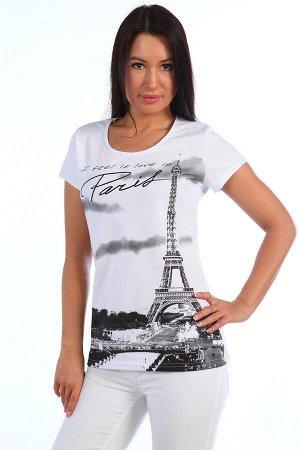 Футболка Состав: 100% хлопок, ткань: кулирка . Элегантная футболка из кулирки для девушек. Принт в виде панорамы Парижа и надписей. Две расцветки — белая и черная. Окантовка в тон