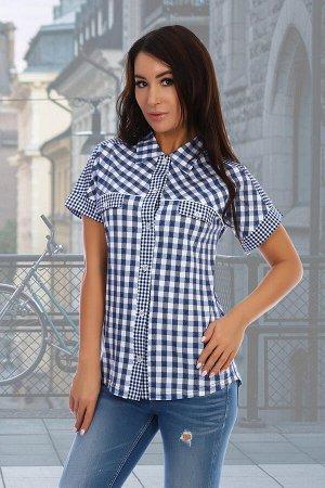 Рубашка Данный товар в одной расцветке. состав: 100% хлопок, ткань: кулирка . Рубашка женская свободного покроя на планке с пуговицами и стояче-отложным воротником, спущенным рукавом на манжете и деко