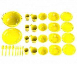 Набор посуды для пикника №8 «Выходные» (4 персоны, 30 предметов) (Миска 5л, тарелка (блюдо) D-30,5см, 4 тарелки суповых 0,7л, 4