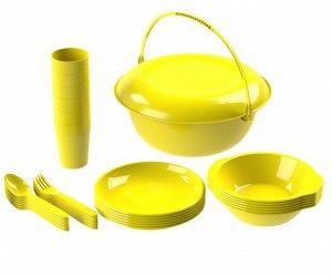 Набор посуды для пикника №9 «Вечеринка» (6 персон, 32 предмета) (Миска 5л, тарелка (блюдо) D-30,5см, 6 тарелок суповых 0,7л, 6 т