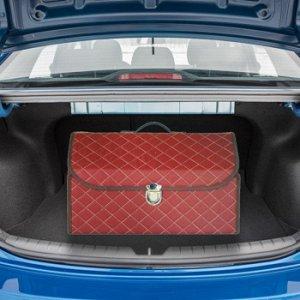 Органайзер автомобильный CARFORT CUBE 100, коричневый, с белой прострочкой, 49*28*30 см