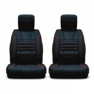 Чехлы (накидки) CARFORT PREMIER, комплект для седана, экокожа, черный с красной прошивкой (1/5)