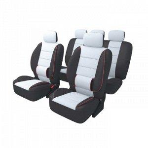 Чехлы для авто CARFORT Carbone с большой поясничной подушкой, комплект, серый, 11 предм.(1/5)