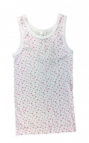 Майка для девочки Crockid К 1112/м белая + розовые звезды