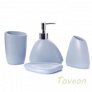 Набор аксессуаров для ванной комнаты из искусственного камня (акрил) АВ-1003 голубой