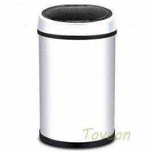 Бак для мусора сенсорный 9 л белый/черный