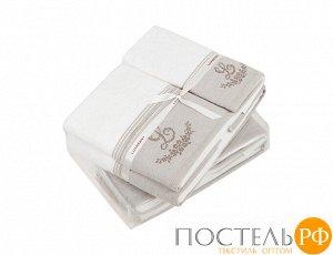 "Полотенце с вышивкой ""LOVELY NEW"" р-р: 30 x 50см, цвет: белый/натуральный"