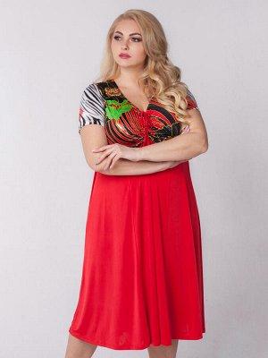 Платье Шэр Артикул: платье_шэр_02крцвкр; Длина изделия, см: 112; Длина рукава, см: 20; Состав: 60% полиэстер, 35% вискоза, 5% эластан.; Цвет: красный/красные цветы; Рукав: короткий Платье-миди для дев