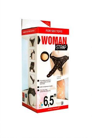 Страпон LoveToy с поясом Harness, с 2 насадками, neoskin, 17,5 см
