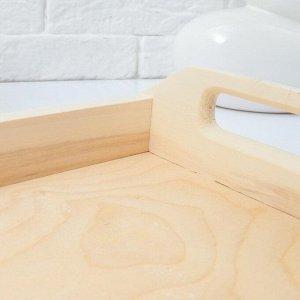 Поднос деревянный для завтрака прямой №1, МАССИВ, 30х20х7см
