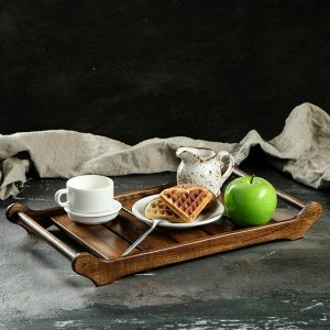 """Поднос для завтрака """"Ренессанс"""". 45 х 25 см. массив ясеня. цвет темный орех"""