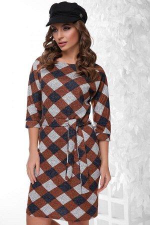 Платье 1801 коричневый ромб
