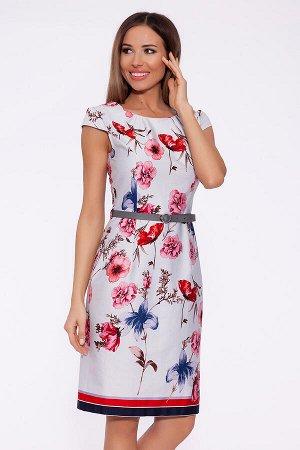 Платье (Remix) Бледно-серый/розовые цветы