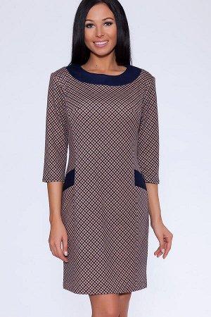 #9099 Платье (ТРиКа) Бежево-синий