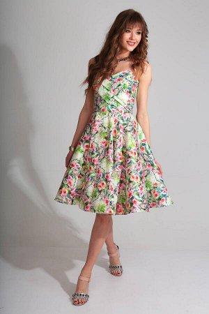 Платье Платье Golden Valley 4264 №1  Состав ткани: ПЭ-100%;  Рост: 170 см.  Платье отрезное по линии талии, с V – образным вырезом горловины переда. По лифу переда два рельефных шва. Две драпир