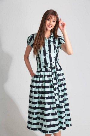 Платье Платье Golden Valley 4473-1 черное с бирюзой  Состав ткани: Спандекс-3%; Хлопок-97%;  Рост: 170 см.  Платье с втачным воротником с отрезной стойкой, центральной застежкой на петли и пуговицы п