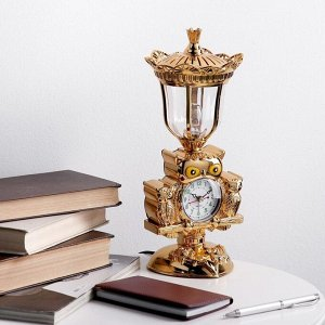 """Часы будильник """"Сова"""" с светильником, 37.5х19 см, микс"""