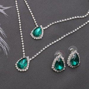 """Набор 2 предмета: серьги, колье """"Жаклин"""" дуэт, капля, цвет бело-изумрудный в серебре"""