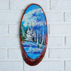 "Картина ""Зима"" на срезе дерева 35 х 16 х 2 см, каменная крошка"