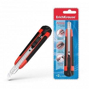 Нож канцелярский 9 мм, Erich Krause ARROW, с автоматической системой фиксации лезвия auto-lock и насадкой для безопасного отделения сегмента лезвия, резиновые вставки, металлические направляющие, 2 ле