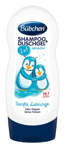 Bubchen Детский шампунь и гель для душа для детей с чувствительной кожей «Ласковый и нежный»2в1,230м