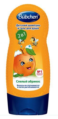 """Bubchen Детский шампунь и гель для душа """"Спелый абрикос"""" 2 в 1, 230 мл"""