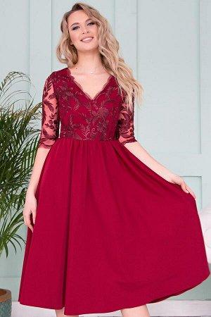 Платье Молли кружево марсала П-156-4
