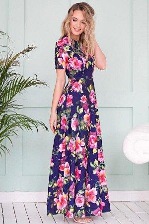 Платье Виктория цветы на темном (П-27-6)