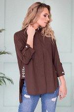Блуза с надписями цвет коричневый Б-115-2