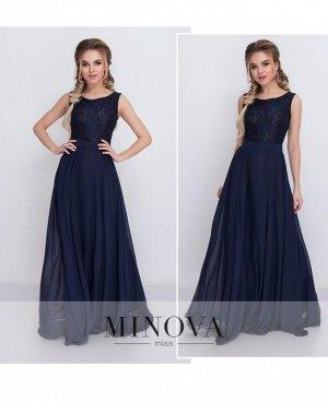 Платье №3096-темно-синий