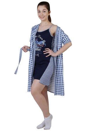 Комплект с халатом Яхта Цвет: Темно-Синий. Производитель: Оптима Трикотаж