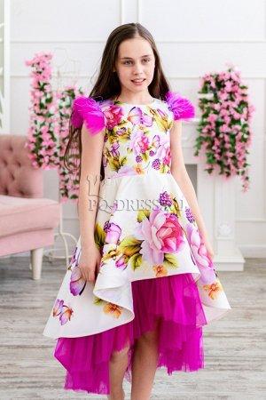 Платье Нарядное платье из плотного атласа с прокатным рисунком по всей длине. Пышный многослойный подъюбник из атласа и стеки. Подклад верха-хлопок. ***  На фото девочка ростом около 134см, платье ра
