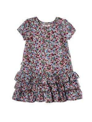 Платье Состав: хлопок 100%  Платье с коротким рукавом . По юбке платья рюши. Изготовлено из кулирки х/б.