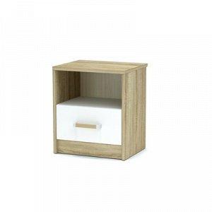 Тумба прикроватная Эксон с ящиком (420x350x476) дуб сонома/белый