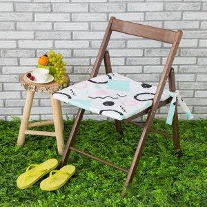 Подушка на стул уличная Квадраты, 45?45 см, репс с пропиткой ВМГО, 100% хлопок