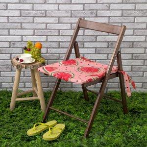 Подушка на стул уличная Арбузы, 45?45 см, репс с пропиткой ВМГО, 100% хлопок