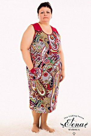 Сарафан % Сарафан женский выполнен из набивной хлопковой ткани с отделкой. На широких лямках, декорированных пуговицами и на карманах в качестве отделки сделаны паты на которые так же пришиты пуговицы