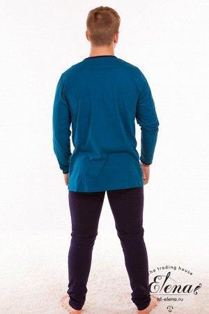 Пижама   % Пижама мужская выполнена из 100% хлопка. Кофта имеет длинный рукав, застёжка на пуговицы, горловина с V-образным вырезом. На передней полочке отделка кант. С левой стороны накладной карман