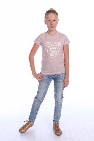 Футболка для девочки с принтом ДФ021-013 розовый