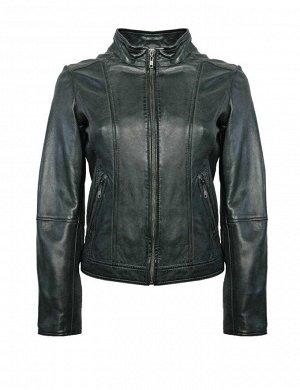 Кожаная куртка, темно-зеленая