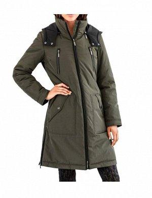 Пальто, хаки-черное
