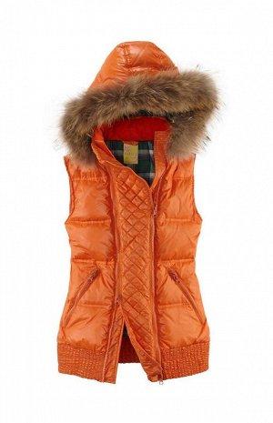 Пуховый жилет с мехом, оранжевый