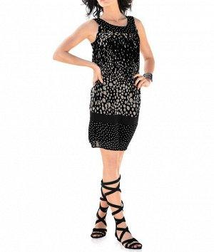 Платье, черно-песочное