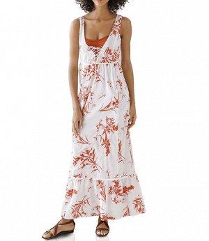 Платье, кораллово-белое